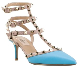 Valentino Studded Strappy Pointed Toe Low Heel Blue Pumps