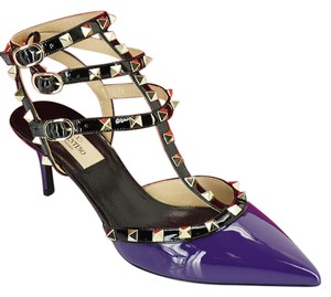 Valentino Mid Heel Studded Black Caged Strappy Purple Pumps
