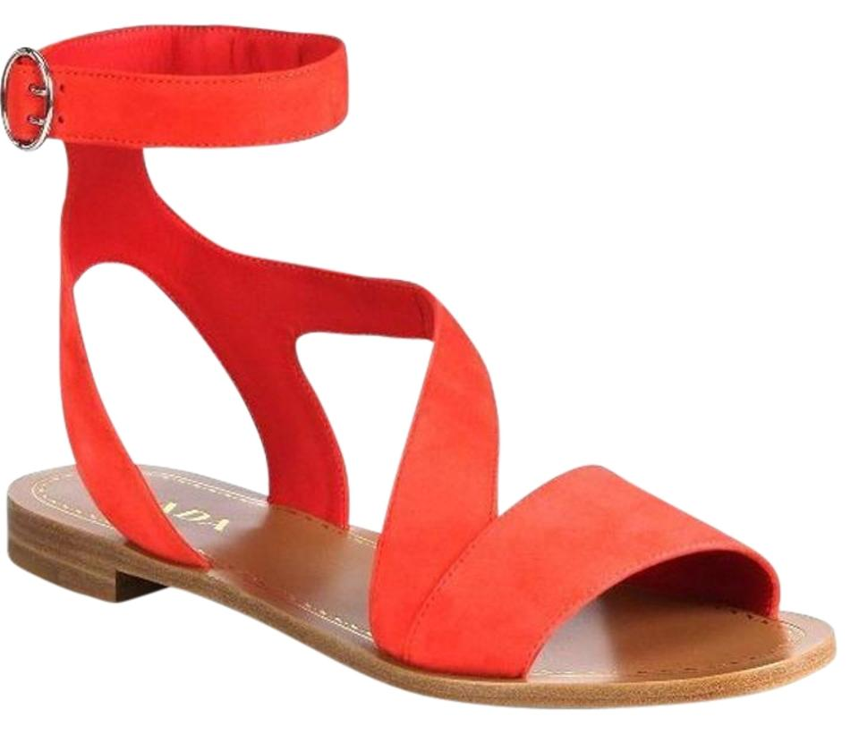 Prada Red Poppy Suede Sandals Leather Ankle Wrap Flat Sandals Suede 22d864