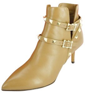 Valentino Pointed Toe Strappy Mid Heel N70 Brown Boots