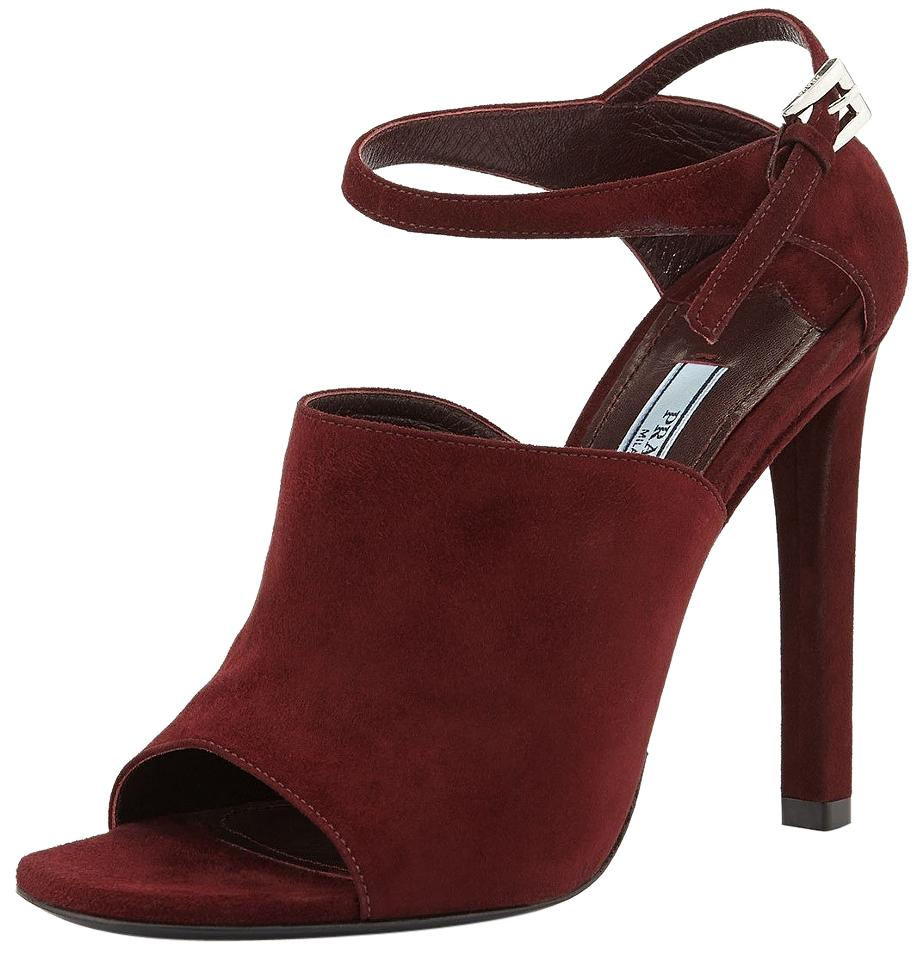 Prada Ankle-strap Red Armarnato Suede Leather Ankle-strap Prada Slide Sandals Formal Shoes c2924a