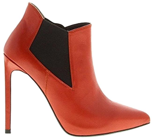 Item - Red Leather Paris Heel Chelsea High Heel Ankle Boots/Booties Size EU 37.5 (Approx. US 7.5) Regular (M, B)