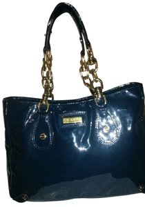 CC SKYE Patent Leather Tote in Navy Blue