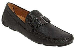 Salvatore Ferragamo Sardegna Black Leather Driving Loafers Sz 9 Ee Moccasin Shoe