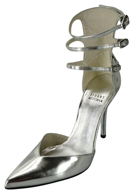 Item - Silver Leather Privacy Pointed Toe Ankle Strappy Pumps Size US 6.5 Wide (C, D)