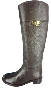 Tory Burch Tall Knee High Logo Brown Boots