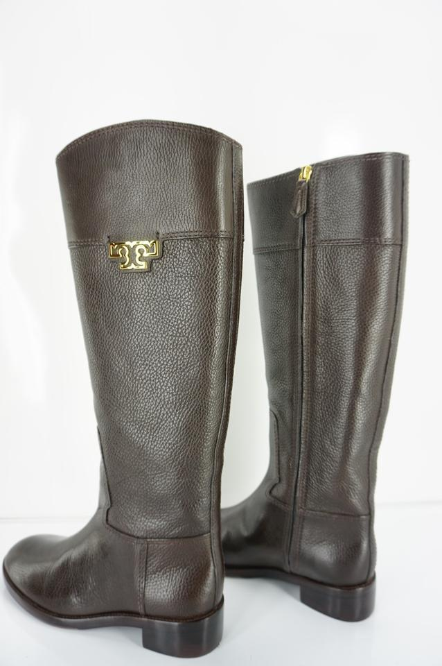 d429a9174c2 Tory Burch Brown Pebbled Leather Joanna Logo Knee High Riding Boots ...