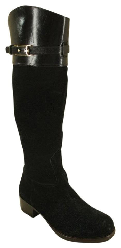97c9c253dae37 Tory Burch Black Suede Leather Jenna Knee Tall Logo Strap Riding Boots  Booties
