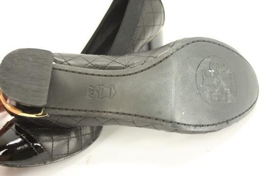 Tory Burch Classic Ballerina Scrunch Formal Black Pumps Image 1
