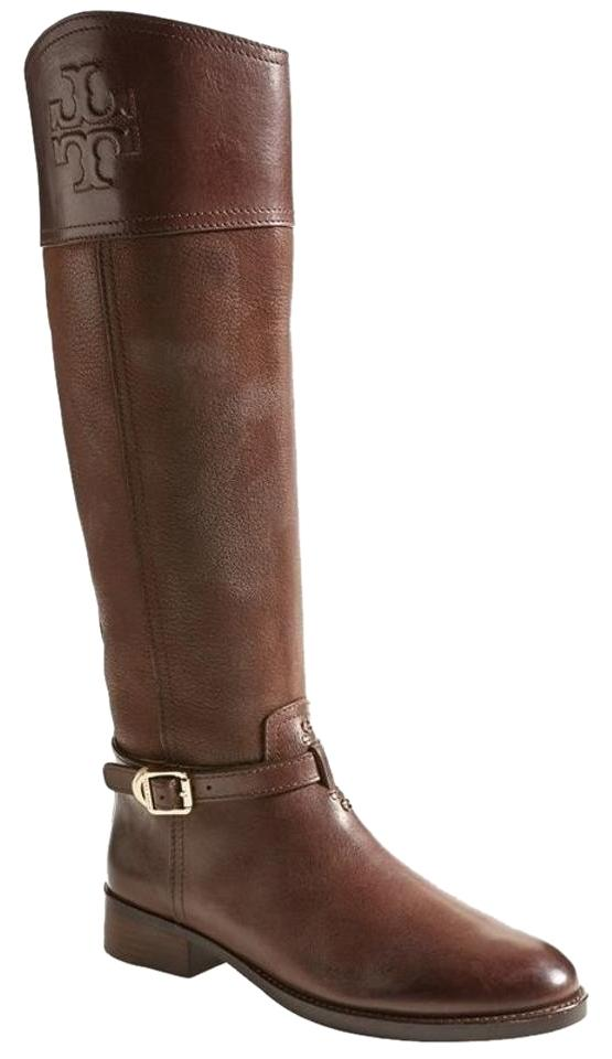 d4e7d986f6b Tory Burch Brown Leather Simone Logo Embossed Tall Knee High Riding ...