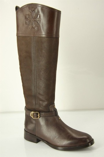 Tory Burch Logo Belted Logo Cuff Brown Boots Image 1