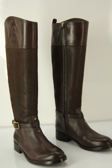 Tory Burch Logo Belted Logo Cuff Brown Boots Image 2