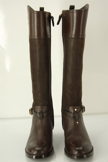 Tory Burch Logo Belted Logo Cuff Brown Boots Image 3
