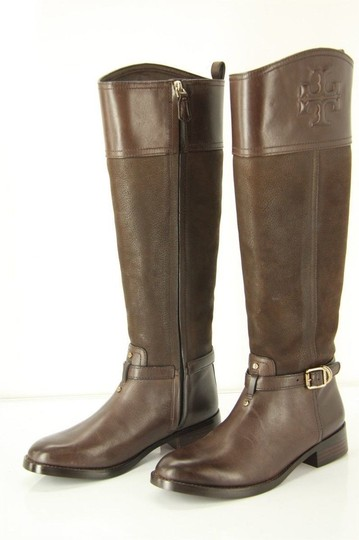 Tory Burch Logo Belted Logo Cuff Brown Boots Image 4