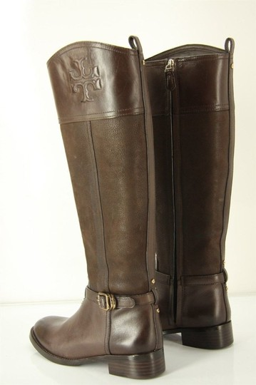 Tory Burch Logo Belted Logo Cuff Brown Boots Image 5