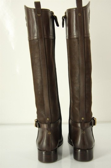 Tory Burch Logo Belted Logo Cuff Brown Boots Image 6