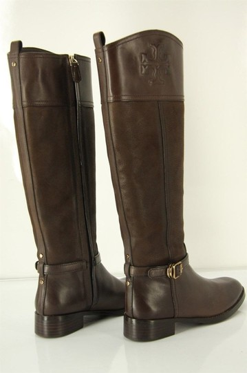 Tory Burch Logo Belted Logo Cuff Brown Boots Image 7