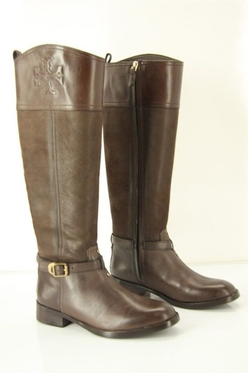 Tory Burch Logo Belted Logo Cuff Brown Boots Image 8