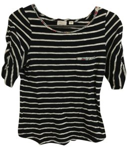 Anthropologie Stripes Floral T Shirt Navy Blue and White