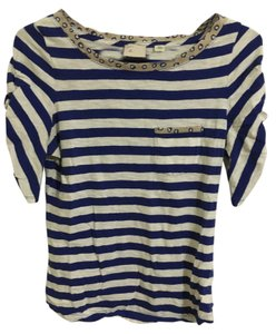 Anthropologie Stripes T Shirt Royal Blue and White