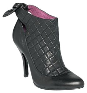 Sam Edelman Leather Quilted Tie Back Black Boots