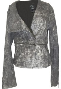 Blanc Noir Grey washed Leather Jacket