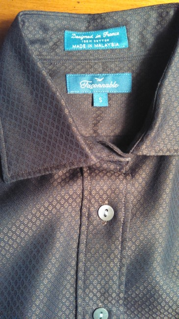 Faonnable Button Down Shirt Chocolate Brown