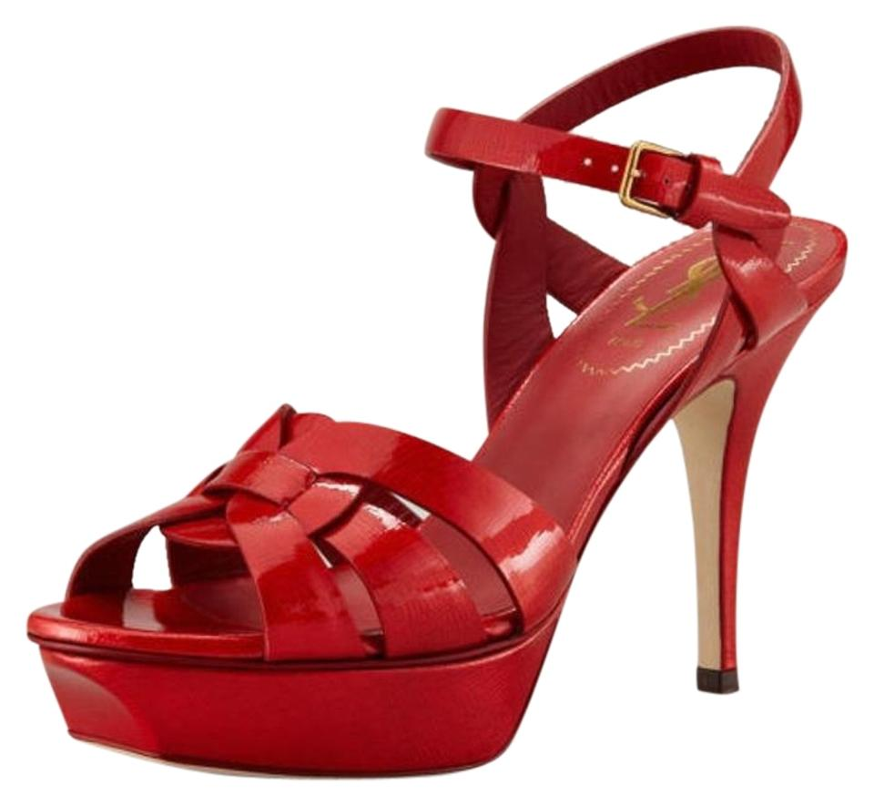 64594efe2ec Saint Laurent Red Tribute Patent Leather Platform Strappy Sandals ...