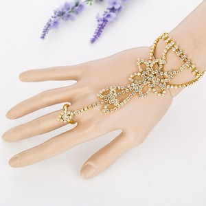 Gold/Clear Crystal Gloves