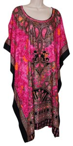 NEW Hot Pink Maxi Dress by Sante Loose Silk Watercolor