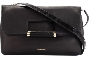 Jimmy Choo Dust Card Snakeskin/gold Trim Attachable Strap Fold Over Style Shoulder Bag