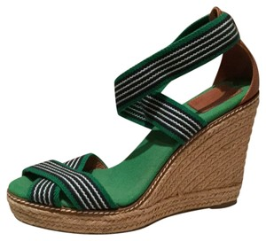 Tory Burch Green navy and tan Wedges