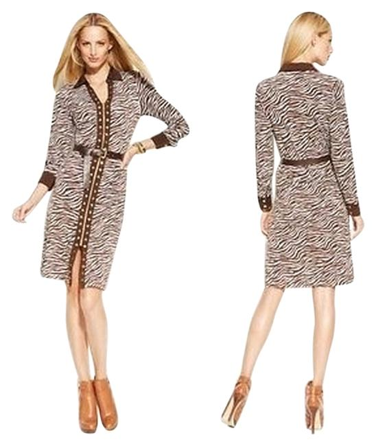 Preload https://item4.tradesy.com/images/michael-kors-chocolatewhite-animal-print-studded-shirtdress-pm-above-knee-workoffice-dress-size-peti-1342708-0-0.jpg?width=400&height=650