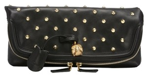 Alexander McQueen Dust Included Never Carried Gold Tone Hardware Black Clutch