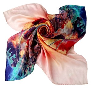 Large Square Silk Twill Scarf - 100% Silk High Quality Painted with Hand Rolled Hem Orange Turquoise Tulip Print Scarf 28in x 28in (70cm x 70cm)