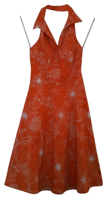Preload https://img-static.tradesy.com/item/13428040/speechless-orange-and-white-halter-top-summer-mid-length-short-casual-dress-size-6-s-0-13-650-650.jpg