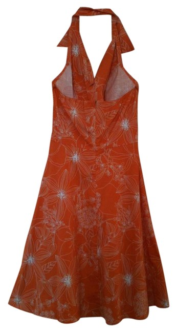Speechless short dress Orange & White Halter-top Floral Pattern Summer on Tradesy Image 1