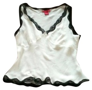 Sunny Leigh Sleeveless Top White Silk w/t Black Lace Edging