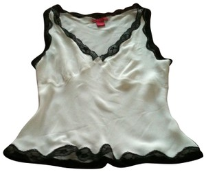 Sunny Leigh Sleeveless Lace-trim Top White Silk With Black Lace Edging
