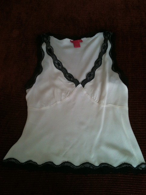 Sunny Leigh Sleeveless Lace-trim Top White Silk With Black Lace Edging Image 2