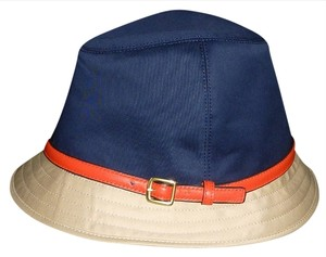 Coach Coach HAT Fedora Multi-Color Khaki/Navy/RED Size S 83633 NWT Authentic