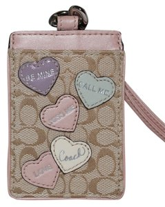 Coach COACH ID Lanyard/Badge Photo Case HEART LOVE PINK