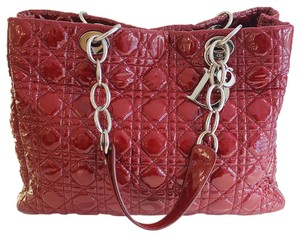 Dior Christian Patent Leather Silver Hardware Cannage Tote in Red