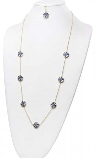 Other NEW Tory Burch Style Blue / Goldtone Necklace & Earring Set