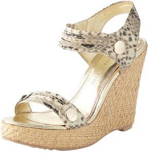 Elaine Turner Wedge Python and Gold Sandals