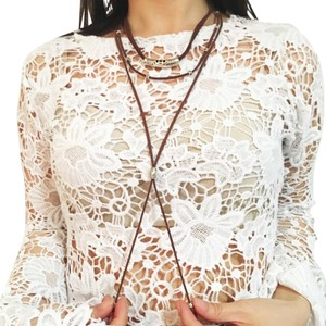 Hipster Hippie Suede Boho Layered Silver Tie String Retro Necklace