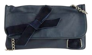 Islo Isabellalorusso Leather Velvet Deatail Silver Hardware Blue Clutch