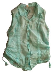 Guess Sleeveless Summer Casual Button Down Shirt Aqua-Teal
