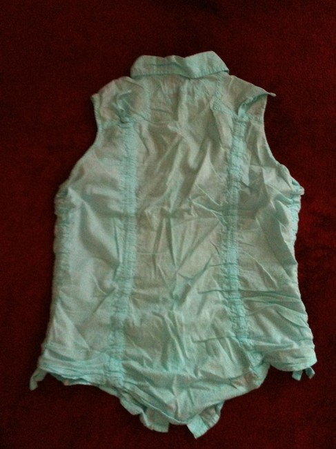 Guess Sleeveless Summer Casual Light Top Turquoise Image 2