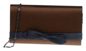 Hoss intropia Silk Chain Strap Bow Brown and Blue Clutch